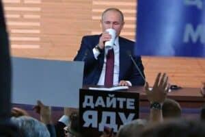 Президент России В.В.Путин во время большой прессконференции. Фото www.offshoreview.eu