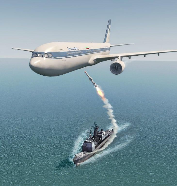 3 июля 1988 года. Авиалайнер Airbus A300B2-203 авиакомпании Iran Air совершал коммерческий пассажирский рейс IR655 по маршруту Тегеран—Бендер-Аббас—Дубай, но через 7 минут после вылета из Бендер-Аббаса, пролетая над Персидским заливом, был сбит ракетой «земля-воздух», выпущенной с ракетного крейсера ВМС США «Vincennes».