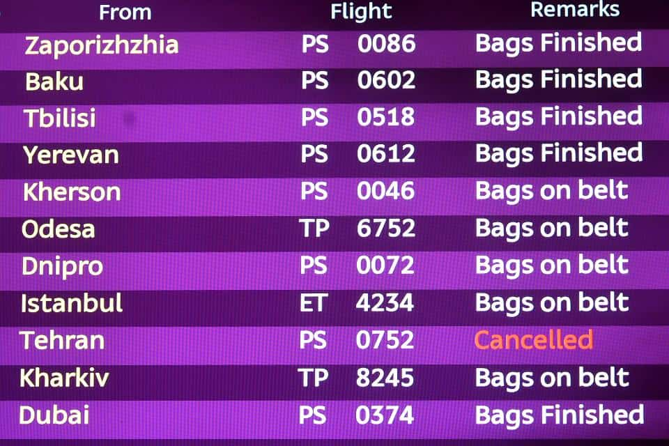 Табло прилета в аэропорту Борисполь 8 января 2020 года.